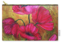 Carry-all Pouch featuring the painting Textured Poppies by Chris Hobel
