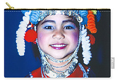 Carry-all Pouch featuring the photograph Thai Girl Traditionally Dressed by Heiko Koehrer-Wagner