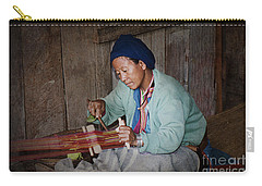 Carry-all Pouch featuring the photograph Thai Weaving Tradition by Heiko Koehrer-Wagner