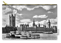 Carry-all Pouch featuring the photograph Thames River In London Bw by Mel Steinhauer