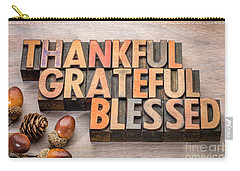 thankful, grateful, blessed - Thanksgiving theme Carry-all Pouch