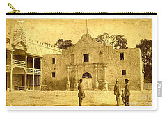 Carry-all Pouch featuring the photograph The Alamo San Antonio Texas Circa 1880 Albumen Photograph by Peter Gumaer Ogden