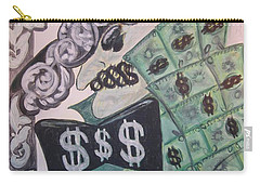 Carry-all Pouch featuring the painting The Almighty Buck by Diane Pape
