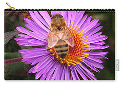 Carry-all Pouch featuring the photograph The Aster And The Bee by Laurel Talabere