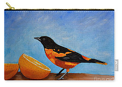 Carry-all Pouch featuring the painting The Bird And Orange by Laura Forde