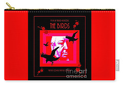Carry-all Pouch featuring the digital art The Birds Alfred Hitchcock by Peter Gumaer Ogden