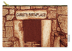 Carry-all Pouch featuring the painting The Birthplace Of Christ Church Of The Nativity by Georgeta Blanaru