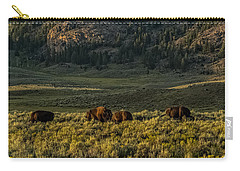 Carry-all Pouch featuring the photograph The Bison Rut In Yellowstone by Yeates Photography