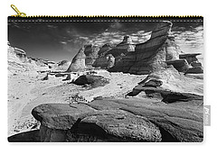 The Bisti Badlands - New Mexico - Black And White Carry-all Pouch by Jason Politte