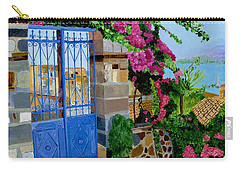 Carry-all Pouch featuring the painting The Blue Gate  by Rodney Campbell
