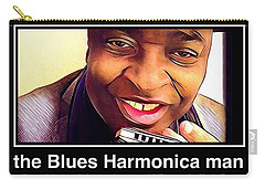 the Blues Harmonica man Carry-all Pouch
