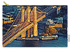 Carry-all Pouch featuring the photograph The Brooklyn Bridge At Sunset   by Sarah Loft