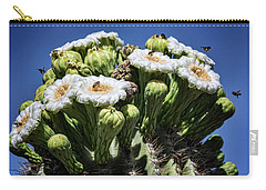 Carry-all Pouch featuring the photograph The Busy Little Bees On The Saguaro Blossoms  by Saija Lehtonen