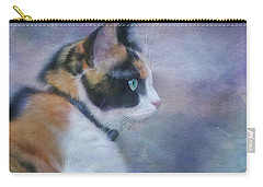 Carry-all Pouch featuring the digital art The Calico Staredown  by Colleen Taylor