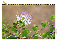 Carry-all Pouch featuring the photograph The  Caper Flower Blossoms. by Arik Baltinester