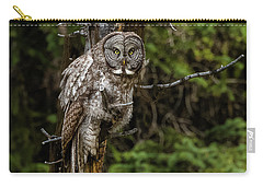 The Captivating Great Grey Owl Carry-all Pouch by Yeates Photography