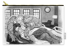 Carry-all Pouch featuring the drawing The Caregiver by Peter Piatt