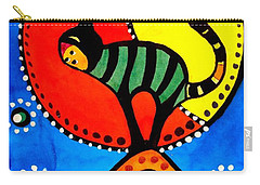 The Cat And The Moon - Cat Art By Dora Hathazi Mendes Carry-all Pouch by Dora Hathazi Mendes