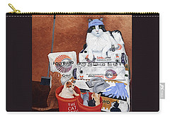 Carry-all Pouch featuring the painting The Cat Crew by Karen Zuk Rosenblatt