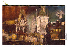 The Charles Bridge In Prague At Night Carry-all Pouch