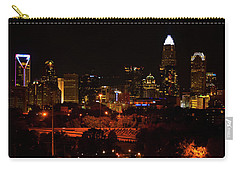 The City Of Charlotte Nc At Night Carry-all Pouch by Chris Flees