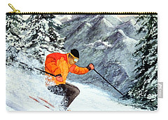 Carry-all Pouch featuring the painting The Clear Leader Skiing by Bill Holkham