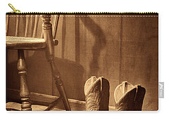 The Cowgirl Boots And The Old Chair Carry-all Pouch by American West Legend By Olivier Le Queinec