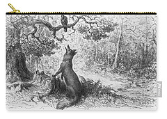 The Crow And The Fox Carry-all Pouch by Gustave Dore