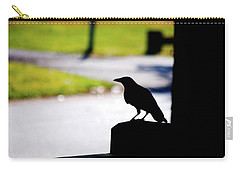 Carry-all Pouch featuring the photograph The Crow Awaits by Karol Livote