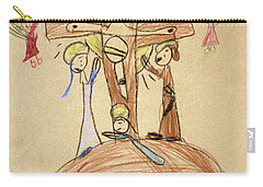 Carry-all Pouch featuring the drawing The Crucifixion By Fr. Bill At Age 5 by William Hart McNichols