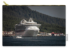 Carry-all Pouch featuring the photograph The Cruise Ship And The Plane by Timothy Latta
