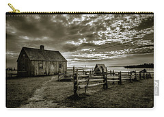 Carry-all Pouch featuring the photograph The Doucet House - Bw by Chris Bordeleau