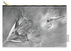 The Dragonfly And The Flower Carry-all Pouch by Linda Lees