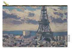 Carry-all Pouch featuring the painting The Eiffel Tower Paris by Nop Briex