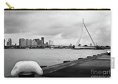 Carry-all Pouch featuring the photograph The Erasmus Bridge In Rotterdam Bw by RicardMN Photography