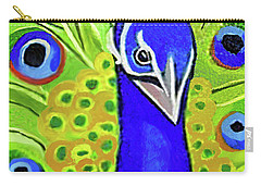 Carry-all Pouch featuring the painting The Face Of A Peacock by Margaret Harmon