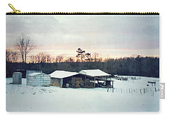 The Farm In Snow At Sunset Carry-all Pouch