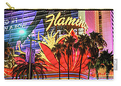Carry-all Pouch featuring the photograph The Flamingo Neon Sign And Palm Trees Wide by Aloha Art