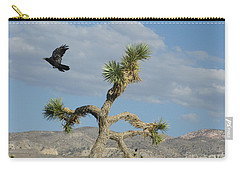 Carry-all Pouch featuring the photograph The Flight Of Raven. Lucerne Valley. by Ausra Huntington nee Paulauskaite