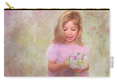 Carry-all Pouch featuring the mixed media The Flower Princess by Colleen Taylor