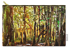 Carry-all Pouch featuring the painting La Foret Du Mount Beuvray by Belinda Low