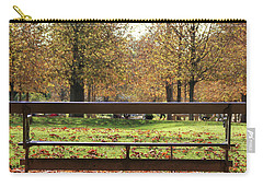 Carry-all Pouch featuring the photograph The French Bench And The Autumn by Yoel Koskas