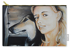 The Girl And Her Dog  Carry-all Pouch by Jean Cormier