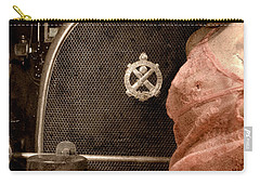 Carry-all Pouch featuring the photograph The Girl On The Background Of Vintage Car. by Andrey  Godyaykin