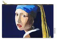 Carry-all Pouch featuring the painting The Girl With A Pearl Earring After Vermeer by Rodney Campbell