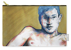Carry-all Pouch featuring the painting The Golden Boys Stares Back  by Rene Capone