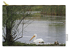 Carry-all Pouch featuring the photograph The Goose And The Pelican by Alyce Taylor