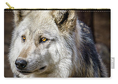Carry-all Pouch featuring the photograph The Gray Wolf by Teri Virbickis