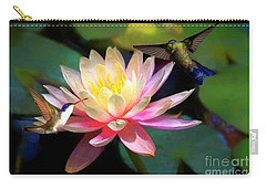 The Grutas Water Lillie With Hummingbirds Carry-all Pouch by John Kolenberg
