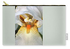 Carry-all Pouch featuring the photograph The Heart Of A Bearded Iris by Sheila Brown